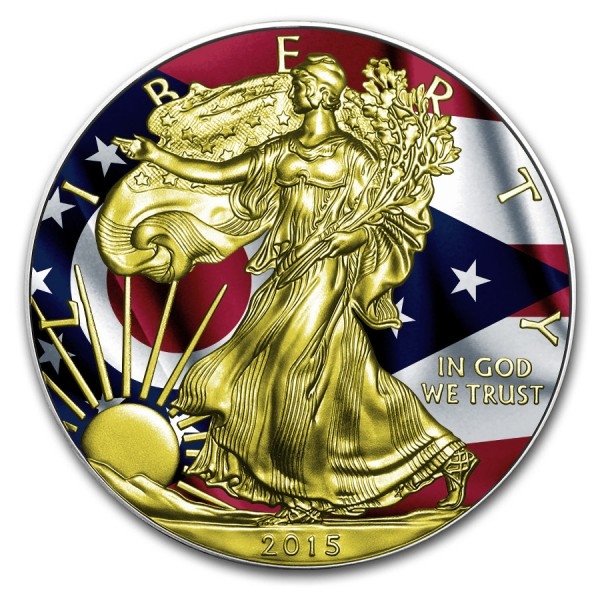 2015 1oz American Silver Eagle Ohio Flag Gold Gilded