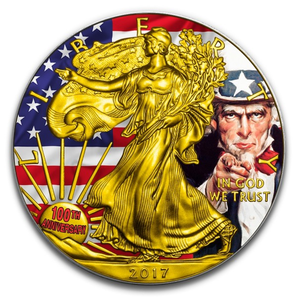 2017 1 Oz American Flag Silver Eagle Uncle Sam Quot I Want You