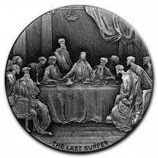 2016 2oz $2 NZD Niue Biblical Series The Last Supper Antique High Relief Silver Coin
