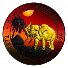 2017 1oz Silver Somalia African Elephant Black Ruthenium African Sunset